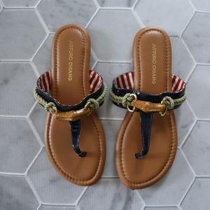 Arturo Chiang | Navy Nautical Sandals, Size 7.5